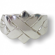 4 Band - Sterling Silver Puzzle Ring - X Design -