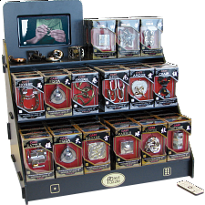 Hanayama Wood Display Stand with Video Display + Puzzles -